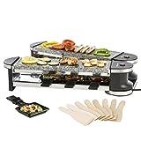 Ultratec 331400000244 Articulada Duo 4, Parrilla Raclette con Planchas de Piedra Natural para hasta 8 Personas, 1200 W
