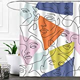 SDDSER Abstract Face Shower Curtain Sets, Minimal Colorful Graphic Woman Bathroom Curtains, 72x72 inch with 12 Free Hooks, YLLSSD2671
