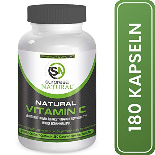 Surpresa Natural® - Natural Vitamin C - 180 hochdosierte Kapseln | 100% natürliches Vitamin C hochdosiert aus der Acerola Kirsche plus Quercetin | hohe Bioverfügbarkeit | vegan & ohne Zusätze