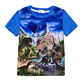 Boys Dinosaurs Short Sleeve T-Shirt Summer Toddlers 3D T-Rex Top Tee for Kids Size 3T 4T