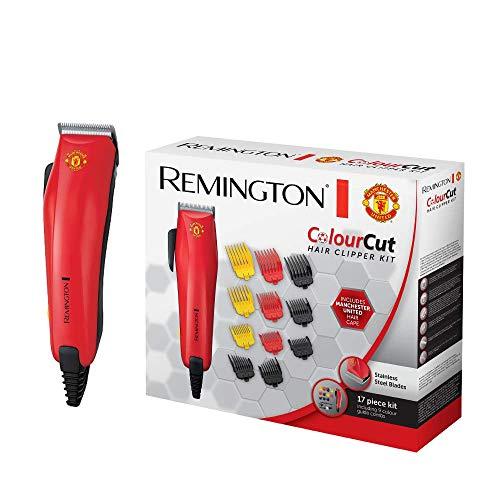 Remington HC5038 Tagliacapelli Colourcut Linea Manchester United con 9 Pettini Colorati per Diverse Lunghezze di Taglio, Include Mantellina del Manchester United, 560 g