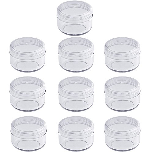 Leere klare Acryl Dose 6 ml, kleine Kosmetex Kosmetikdose, Plastikdose, Cremedose mit Schraubdeckel, 10 Stück