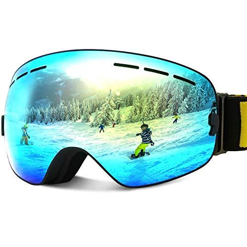 JOJO LEMON Ski Goggles for Kids Over Glasses Boys Girls Snow Sport Goggle for Teenagers Child Snowboarding Clear Uv Protection VLT 8%