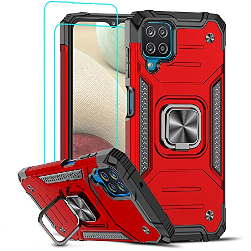 LeYi Compatible with Galaxy A12 Case, Samsung A12 Case with Tempered Glass Screen Protector (2PCS), [Military-Grade] Phone Cover Case with Ring Holder Kickstand for Samsung Galaxy A12, Red