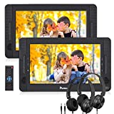NAVISKAUTO 10.5' Dual Screen DVD Player Portable for Car with Headphones, 5-Hour Rechargeable Battery, Supports...