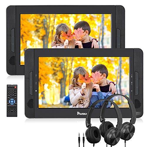 """NAVISKAUTO 10.5"""" Dual Screen DVD Player Portable for Car with Headphones, 5-Hour Rechargeable Battery, Supports USB/SD/MMC (Host DVD Player+ Slave Monitor)"""