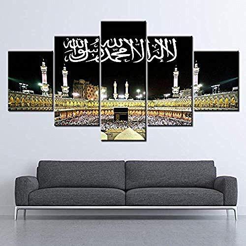 Mashanglaile Hauptdekoration Gemälde Drucke Hd Leinwand Wandkunst Wohnzimmer Hauptdekorationen Bilder 5 Stücke Islam Mekka Kaaba Tapete Gemälde Poster Quadro/Ungerahmt