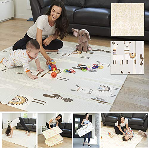 XdeModa Reversible Baby Play Mat & Exercise Mat - Fun & Stylish Foam Floor Playmat for Adults, Kids and Infants. Elegant Room Decor Transforms into Large Fun Activity Gym Mat for Yoga or Crawling