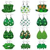 TUPARKA 12 pares de pendientes de piel Día irlandés del trébol del trébol del cuero pendientes pendientes de gota cuelgan de St.Patrick por un regalo del día de la Mujer de San Patricio