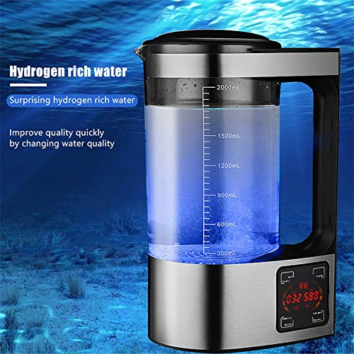 InLoveArts Wasserstoff Wassergenerator, 2L wasserstoffreiche Wasserflasche, Tragbarer Wasserionengenerator, Thermostat Digital Touch Control LED-Anzeige, Luftreiniger für die ganze Familie