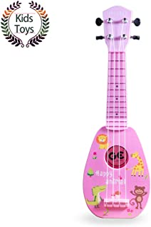 "YOLOPARK 17"" Mini Guitar Ukulele Toy for Kids, 4 Strings Keep Tones Can Play Not Electronic Ukulele, Children Musical Instruments Educational Toys with The Picks and Strap for Beginner Starter (Pink)"
