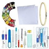 DIYARTS Kit de Inicio de Bordado - Herramientas Punto Cruz Profesional con Hilos de 50 Colores Kits Costura Bricolaje Conjunto Inicio para Hacer Punto Hecho A Mano Bordes Aros