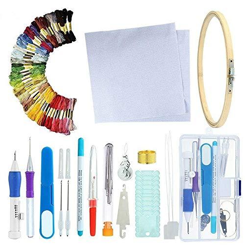 DIYARTS Stickpackung Professionelle Kreuzstichpackung mit 50 Farben DIY Nähpackungen Handgestricktes Starter Set Stickrahmen