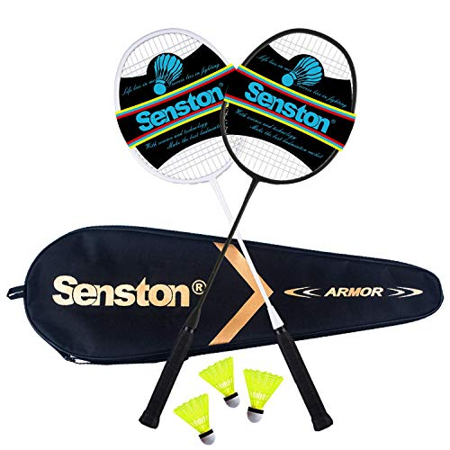 Senston 2 Racchetta da Badminton, con Borsa per Racchette/3 x Piuma Ball - Principianti e Divertimento Casuale Unisex (Black & White)