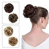 Parrucca a forma di chignon, fascia per capelli, coda di cavallo, extension ondulate, capelli a ciambella, colore marrone scuro, biondo medio.
