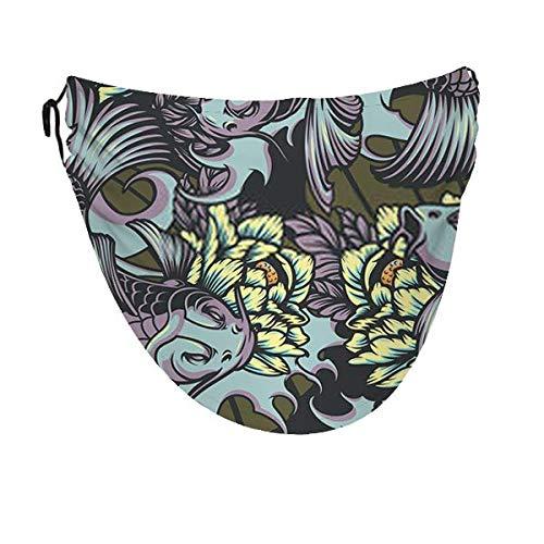 Patrón de color sin costuras de estilo japonés con carpas koi H Diadema Cubiertas de pasamontañas ajustable Cubierta de boca de polvo Cubierta facial para adultos para adultos
