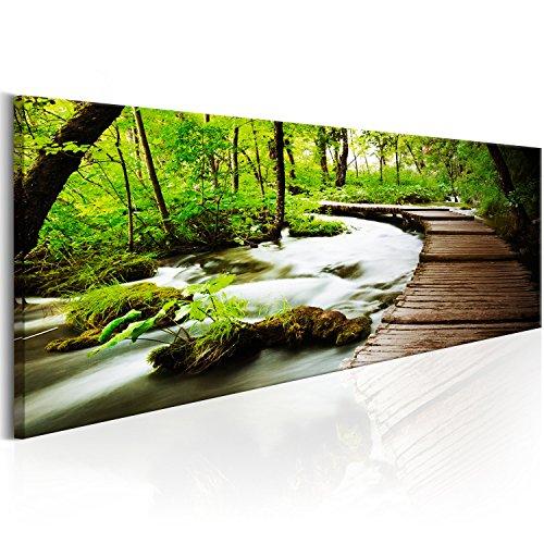 murando - Bilder 135x45 cm Vlies Leinwandbild 1 TLG Kunstdruck modern Wandbilder XXL Wanddekoration Design Wand Bild - Wald grün Baum Natur Landschaft c-B-0161-b-a