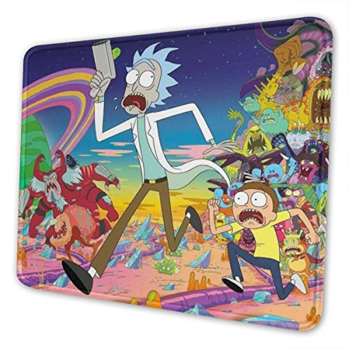 Rick Morty Mouse Pad Mouse Mat with Stitched Edge Non-Slip Rubber Base Large Mouse Pads for Laptops Computers and PCs 12 X 10 X 0.12 Inches