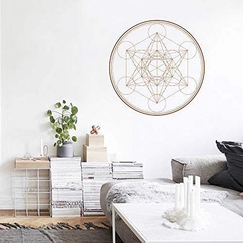 ganlanshu Cubo Sagrado alquimia Mandala línea Yoga Boho Vinilo geométrico Tatuajes de Pared decoración extraíble 57cmx57cm
