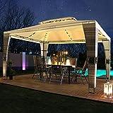 Swing&Harmonie LED - Rattan Pavillon 3x4m Royal mit Solar Beleuchtung Garten Pavilion Polyrattan Designer Pavilon (mit Seitenwänden, grau/anthrazit)