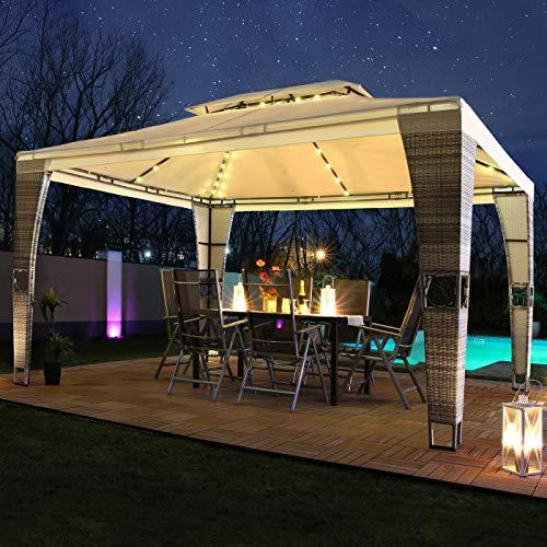 Swing&Harmonie LED - Rattan Pavillon 3x4m Royal mit Solar Beleuchtung Garten Pavilion Polyrattan Designer Pavilon (mit Seitenwänden, braun/Creme)