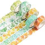 YUBBAEX Washi Tape Set cinta adhesiva decorativa Washi Glitter Adhesivo de Cinta Decorativa para DIY Crafts Scrapbooking (Sensación de hojas 6 rollos)