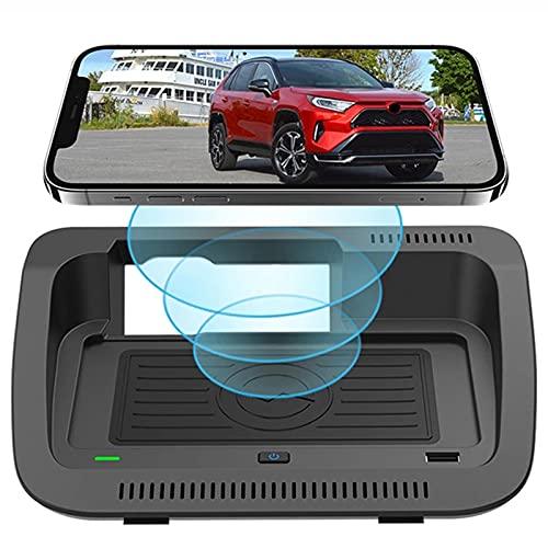 cargador coche Montaje del Cargador Inalámbrico del Automóvil para Toyota Rav4 Wilanda 2019-2021 Modelos Compatibles con el Tablero de Carga Rápida de Smartphone para Iphone 12/11 / Xs / X / 8 Samsun