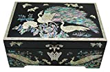Nacre Inlay Mother of Pearl Jewellery Storage Chest Wooden Box Peacock Design Jewelry Mirror Box Keepsake Treasure Gift Box Trinket Case Organizer (Black)