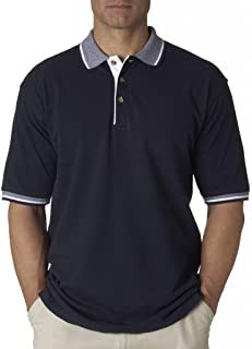 UltraClub mens Color-Body Classic Pique Polo with Contrast Multi-Stripe Trim(8537)-NAVY/ WHITE-XL