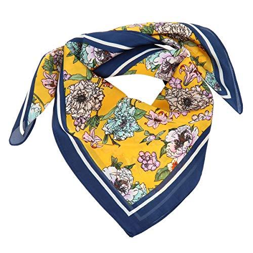 moonbow Pañuelo Cuadrado Mujer Amarillo estampado Flores 20% Seda 80% Viscosa - Fular Cuadrado Seda Grande 70cm x 70cm - Bufanda Suave Fina y Ligera - Foulard Original Moderno y Tendencia