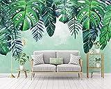 Papel Pintado 3D Murales Flor verde carpa plateada- Fotomurales Para Salón Natural Landscape Foto Mural Pared, Dormitorio Corredor Oficina Moderno Festival Mural 200X175CM