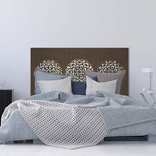 la fabrica del cuadro Cabecero de Cama en Madera Calada, para Cama de 150cm. Fabricado artesanalmente en España- Decorado con Mandalas, Decorado a Mano- Modelo Mosaico 161 (Nogal, 160x80 cm)