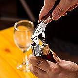 BENKIA Holz Kellnermesser – Gratis Wein-Ratgeber Ebook – Profi Korkenzieher aus Edelstahl in Gastronomie Qualität mit Flaschenöffner & Folienschneider - 3