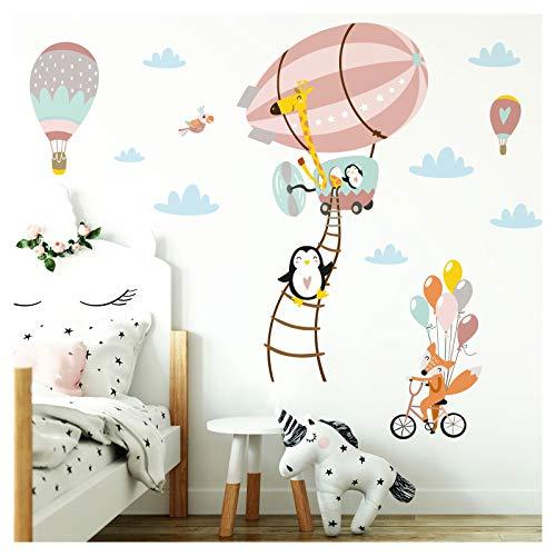 Little Deco Adhesivo de animales en el zeppelin zorro en bicicleta I 124 x 84 cm (ancho x alto) I salmón gris rosa pared adhesivo adhesivo habitación infantil animales DL208-15+16