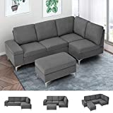 Esright Right Facing Sectional Sofa with Ottoman, Convertible Sectional Sofa with Armrest Storage, Sectional Sofa Corner Couches for Living Room & Apartment, Right Chaise & Gray Fabric