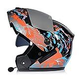 Modular Flip-Up Motorcycle Helmet with Double Visor Adult & Youth Full Face Helmet, DOT Approved Motocross Helmet Motorbike Crash Helmet