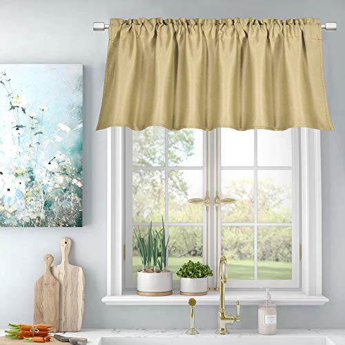 Energy Efficient Rod Pocket Curtains Valance for Windows Room Darkening Privacy Protection Valance 18 Inch Length for Bedroom Kitchen,Each is 52X18 Inch,Biscotti Beige,Single Panel