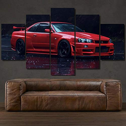 Niss GT-R R34 Skyline Sports Car Framed Canvas Pictures Print Poster Canvas Art Decorative 5 Piece Home Decor Interior Design Easy Hang/Christmas Birthday Gift,100x55cm