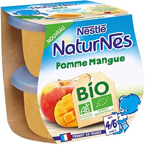 Nestlé Naturnes Bio Compotes bébé Pomme, Mangue Dès 4/6 mois 2x115g