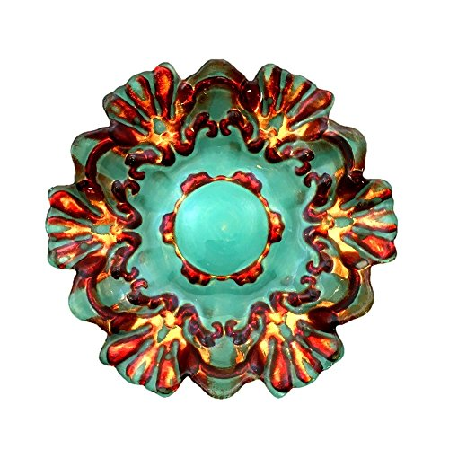 """Red Pomegranate Canapé Set/4 LACE 6.5"""" ANT Turq CANAPE Plates, Turquoise/Gold/Red"""