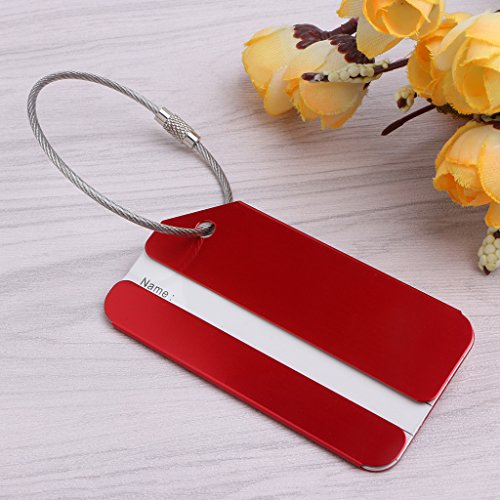 FATTERYU Aluminium Metal Travel Luggage Tag Baggage Suitcase Bag Name Address ID Label Red