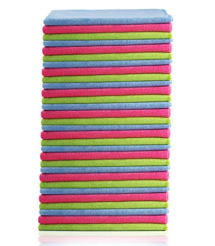 Glart - Bayetas de microfibra para limpiar el coche, suaves, absorbentes y sin pelusas, no rayan la pintura, 40 × 40 cm, azul, verde y rosa (paquete de 30)