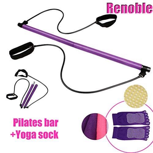 Pilates Stick Bar Kit mit Widerstandsband Multifunktionale Yoga Stange mit Fußschlaufe Sport Übung Fitness Ausrüstung Brust Expander Arm Puller für Home Gym Bodybuilding Workout