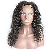 LDSBGJ Peluca de cabello real peluca de cabello real encaje completo tejido a mano marrón medio gorra de malla media