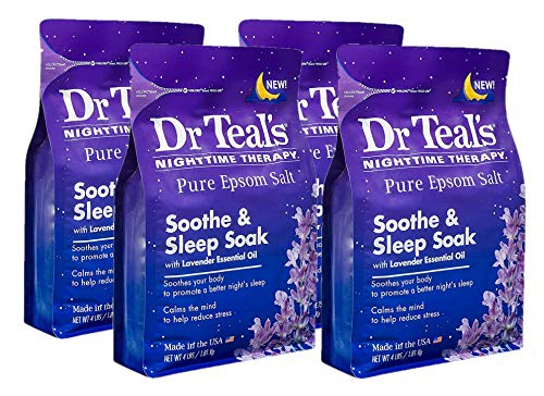 Dr Teal's Nighttime Therapy Epsom Salt Soothe & Sleep Soak with Lavender Essential Oil - 4 Count, 4 lbs Bag - 16 lbs Total