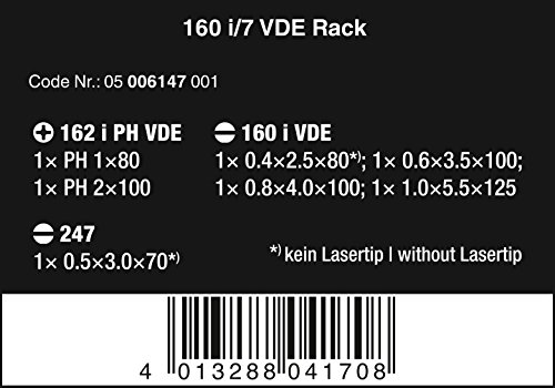 Wera Schraubendrehersatz 160 i/7 Rack Kraftform Plus + Spannungsprüfer + Rack, 7-teilig, 05006147001 - 2