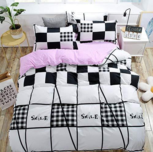 BEDSETAAA Bettwäschesatz Schwarz-Weiß Quadratisch Design Schlafzimmer Bettbezug Kissenbezug Blatt Satz Von Vier, 180X220Cm