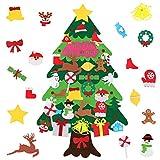 Juego de áRbol de Navidad de Fieltro para NiñOs, DecoracióN para Colgar en la Pared con 30 Piezas de Adornos Desmontables y Bolsillo Grande para DecoracióN de Ventana de Puerta