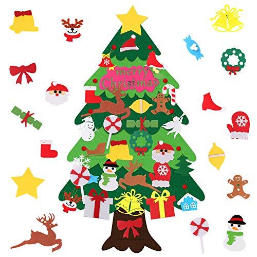 Winthai - Feltro Albero Natale, 3,1ft DIY Albero di Natale per Bambini, con 30PCS Staccabili Accessori per Decorazioni Natalizie, Ornamenti Appesi per Porta, Parete e Stanza dei Bambini
