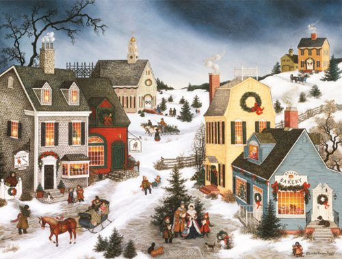 """LANG -""""Caroling in the Village"""", Boxed Christmas Cards, Artwork by Linda Nelson Stocks"""" - 18 Cards, 19 envelopes - 5.375"""" x 6.875"""""""